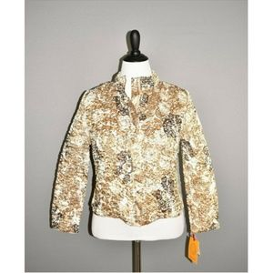 RUBY RD. Copper Gold Crinkle Zip Jacket